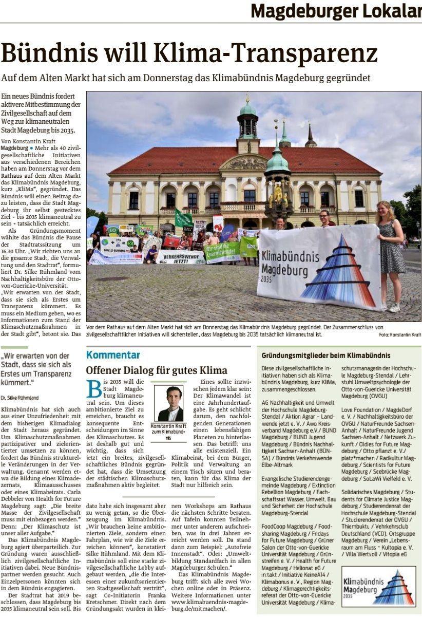 gedruckter Presseartikel der Volksstimme vom 16.07.2021