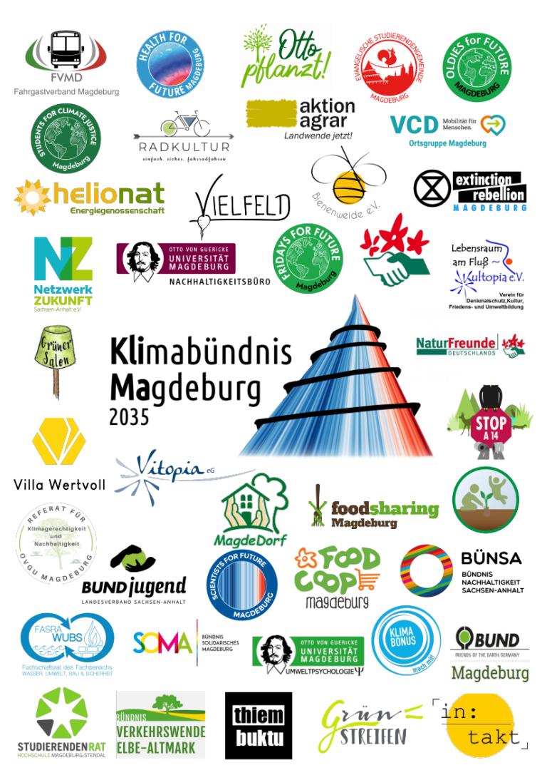 Poster mit vielen Mitgliedern des Klimabündnis Magdeburg (Stand 05.08.2021)