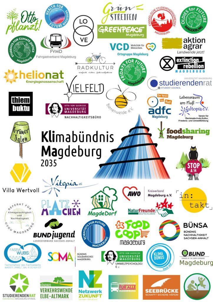 Poster mit Mitgliedern des Klimabündnis Magdeburg (Stand 27.09.2021)